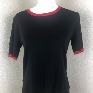Exclusively Misook Black with Red Trim Knit Petite